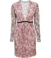 floral lace-yoke mini silk-blend sheath dress