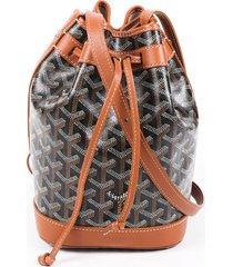 goyard petit flot goyardine bucket bag black/brown/monogram sz: s
