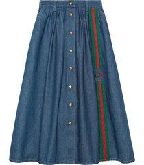 gucci interlocking g web denim midi-skirt - blue