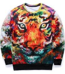 round neck 3d animal print long sleeves sweatshirt