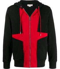 alexander mcqueen colour-block zip-up hoodie - black