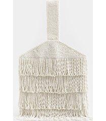 women's miley fringe beaded clutch in ivory by francesca's - size: one size