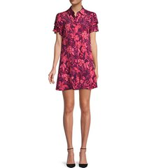 floral-print tiered-sleeve shirtdress