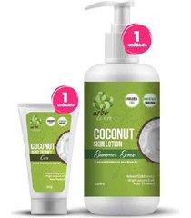 kit vegano hidratação corporal de óleo de coco orgânico e natural - hidratante corporal + creme para mãos