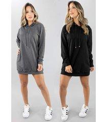 kit 2 vestido vicbela manga longa camisã£o moletinho - grafite/preto - feminino - dafiti