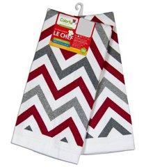 pano para copa zig zag vermelho e cinza 63,5x38cm com 2 peças