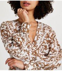 river island womens cream printed long sleeve blouse top