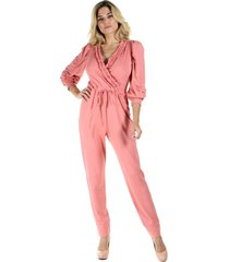 macacã£o longo liso decote transpassado com babadinho - rosa - feminino - dafiti