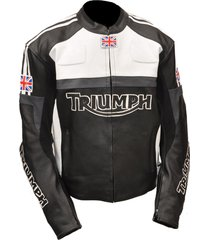 men's bikers handmade triumph motorcycle leather jacket in black & white color