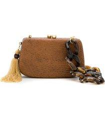 serpui bolsa clutch de palha - marrom