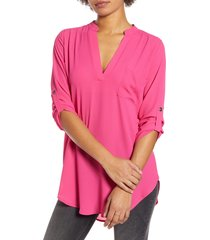 women's all in favor perfect henley tunic, size xx-large - pink