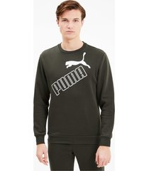 big logo sweater voor heren, groen, maat s | puma