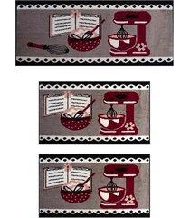 kit tapetes para cozinha, j serrano, batedeira, preto, 3 peças