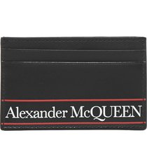 alexander mcqueen logo leather card holder