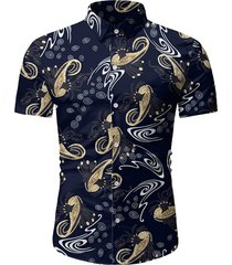 allover print button up short sleeve shirt