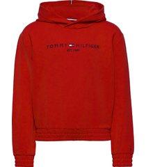 essential hooded sweatshirt hoodie trui rood tommy hilfiger