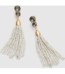 lane bryant women's beaded tassel drop earring onesz black