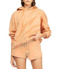 women's billabong gold coast stripe tie dye cotton blend shorts, size small - orange