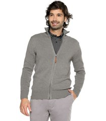sweater gris 102 preppy m/l c/alto abierto cremallera tej medio