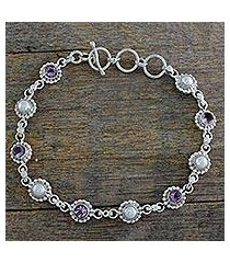 cultured pearl and amethyst link bracelet, 'petite flowers' (india)