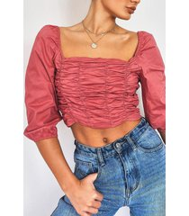 woven ruched front square neck crop top, rose