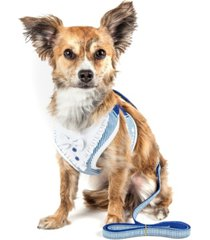 pet life luxe 'spawling' adjustable dog harness leash with fashion bowtie