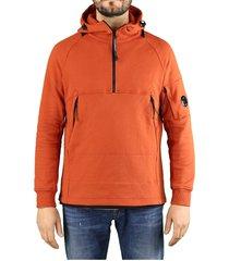 c.p. company diagonal raised fleece burnt ochre hoodie