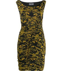 versace jeans couture paisley print pencil-skirt dress - black