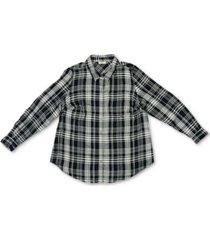 style & co plus size plaid boyfriend shirt, created for macy's