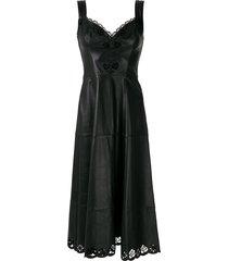 andrea bogosian seoul leather midi dress - black