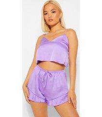petite satijnen hemd en shorts pyjama set, lilac
