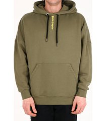 palm angels logo cotton hoodie green