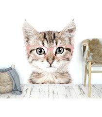 kot w różowych okularach - naklejka na ścianę