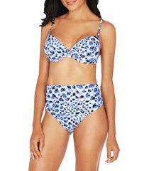 tahari women's cheetah-print underwire bikini top - blue - size xl