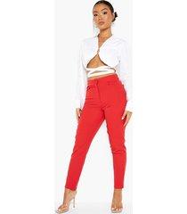 petite getailleerde broek met knopen, red