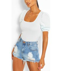 square neck puff sleeve ribbed top, mint