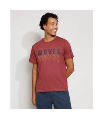 """camiseta masculina manga curta waves"""" gola careca vinho"""""""