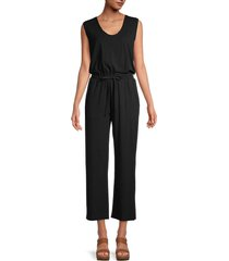 pure navy women's drawstring-waist knit jumpsuit - black - size xs