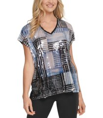 dkny sequin-front top