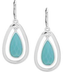 anne klein silver-tone orbital stone drop earrings