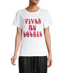 cinq à sept women's graphic cotton tee - white - size l