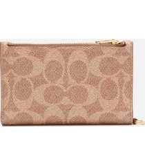 coach women's signature zip chain card case - tan rust