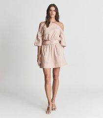 reiss demi - one shoulder mini dress in nude, womens, size 14
