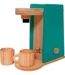 cafeteira infantil com caneca - o que é o que é - madeira - mundo tropical turquesa