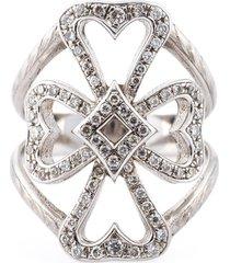 loree rodkin diamond maltese cross midi ring - metallic