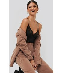 na-kd lingerie lace detail bodysuit - black