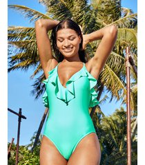 rene plunge low back frill tummy control one-piece swimsuit