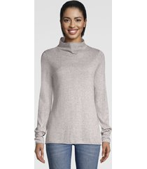 cotton/cashmere donegal mockneck sweater, heathered gray, x large