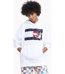 tommy hilfiger women's space jam: a new legacy x tommy jeans hoodie bright white - l