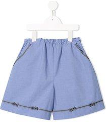 familiar bow detail shorts - blue